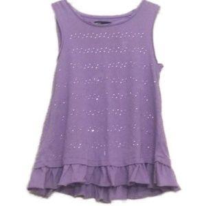 Gap Kids Purple Ruffle Gem Tank Top Size 8